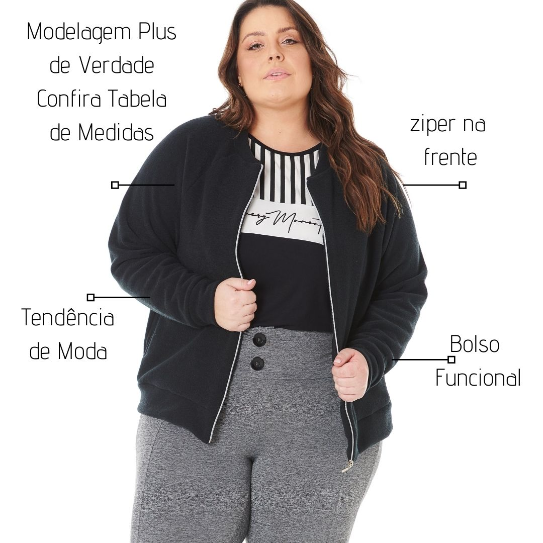Jaqueta Bomber Plus Size Feminina com ziper e bolso 103621