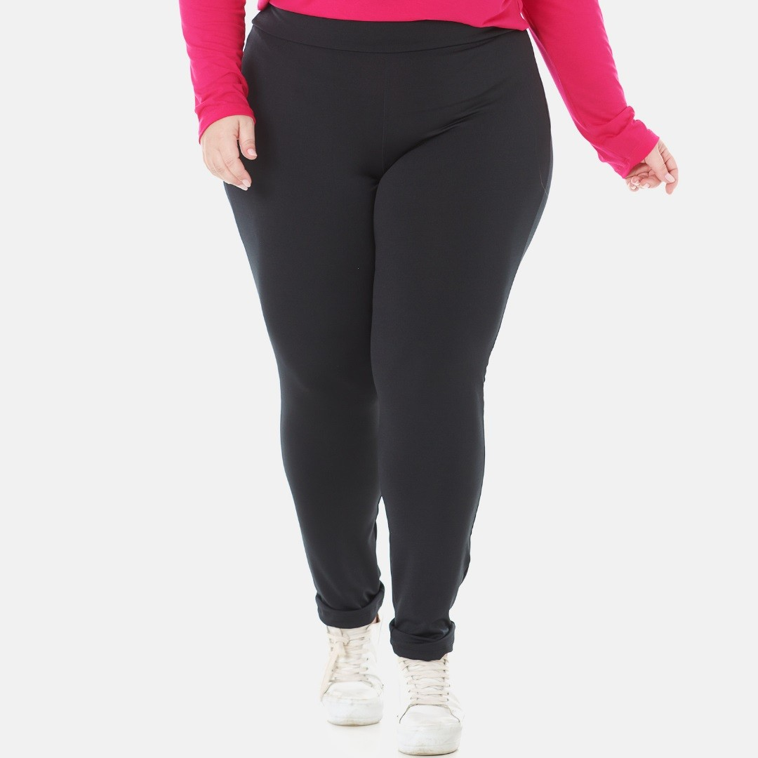 Kit 2 Calcas Legging Plus Size Suplex Bordô e Preto 1133