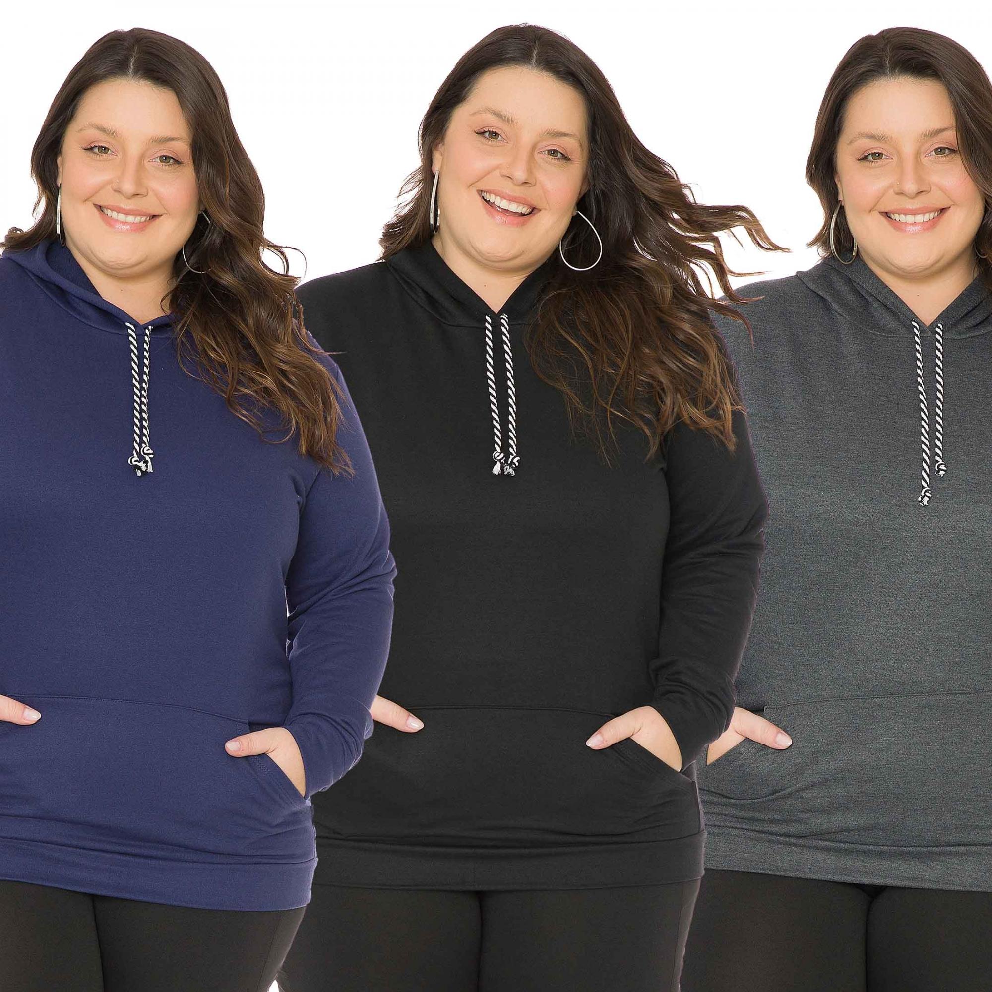 Kit 3 Blusão Casaco de Moletom Feminino Plus Size 1137