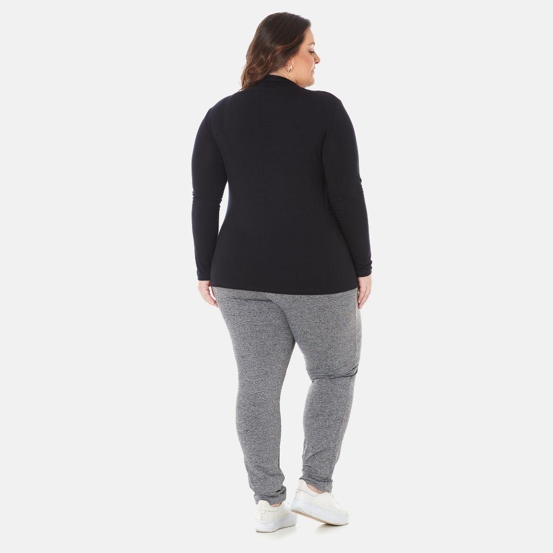 Kit 3 Blusas Cacharrel Gola Alta Feminina Plus Size 1130