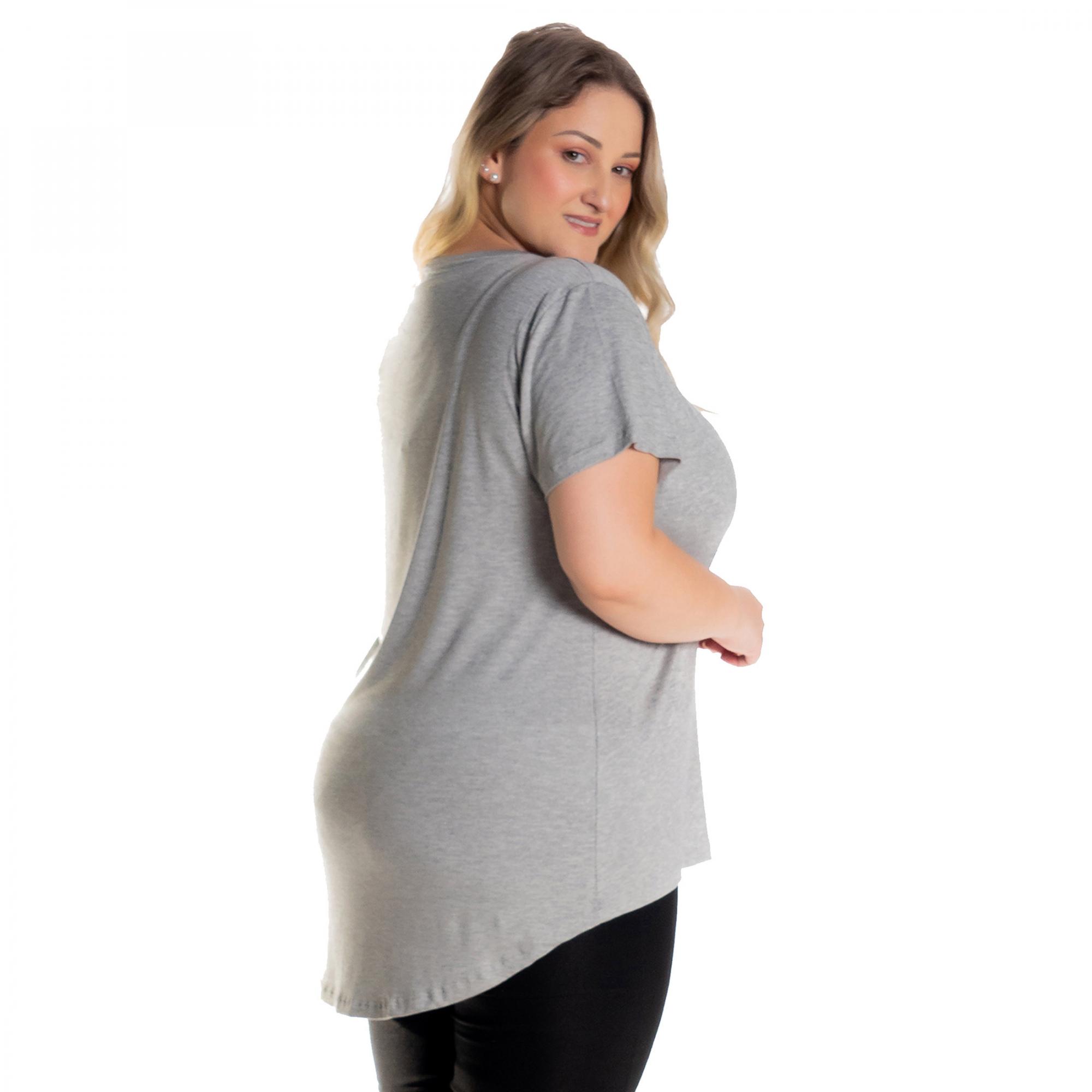 Kit 3 Blusas Femininas Plus Size Tampa Bumbum Mullet 1126