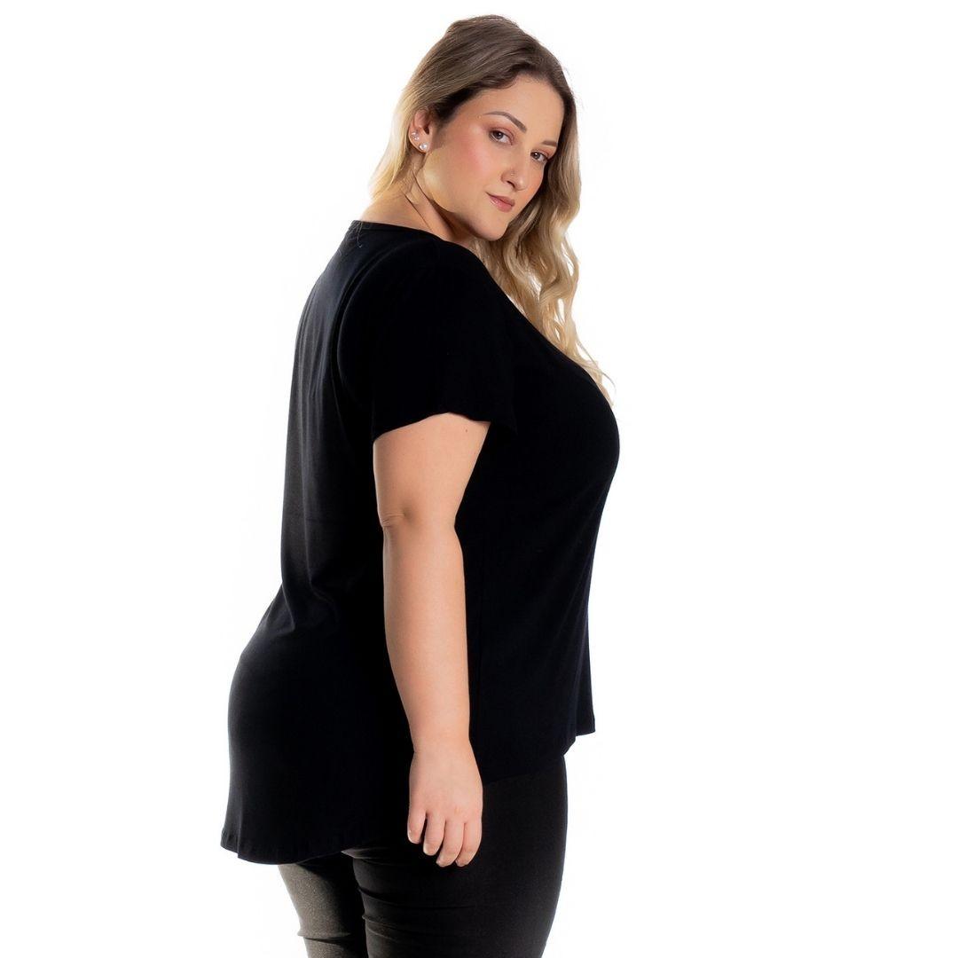 Kit 3 Blusas Mullet Feminina Plus Size Preto - Mescla - Marinho 1126