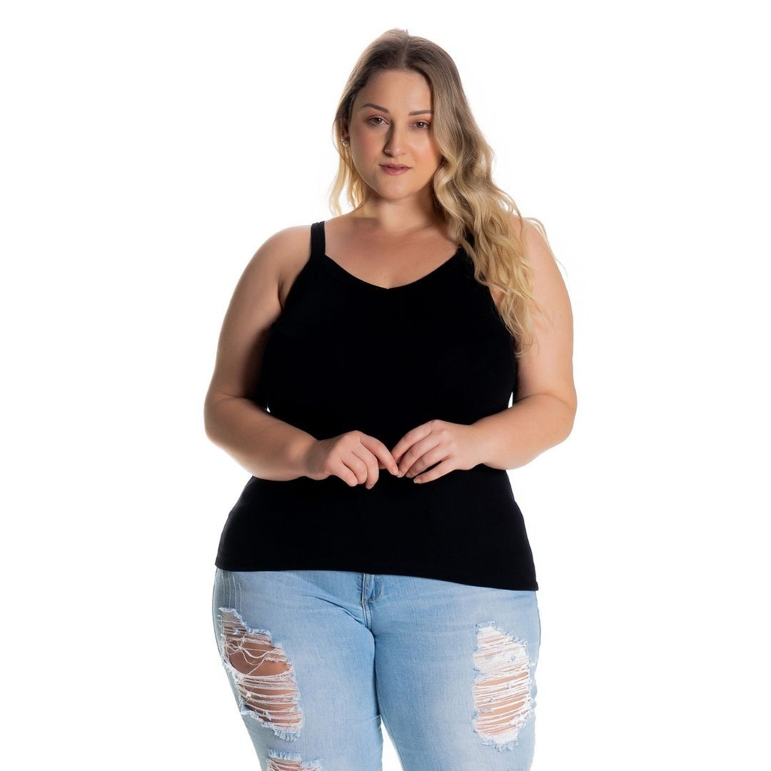 Kit 3 Regatas Plus Size Preto - Marinho - Mescla 1123