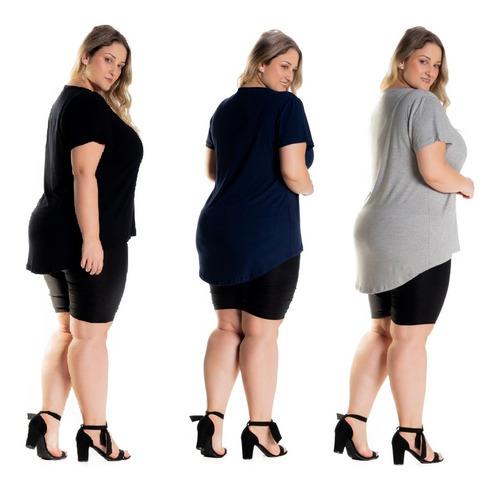 Kit 4 Blusas Femininas Plus Size Tampa Bumbum Mullet 1126