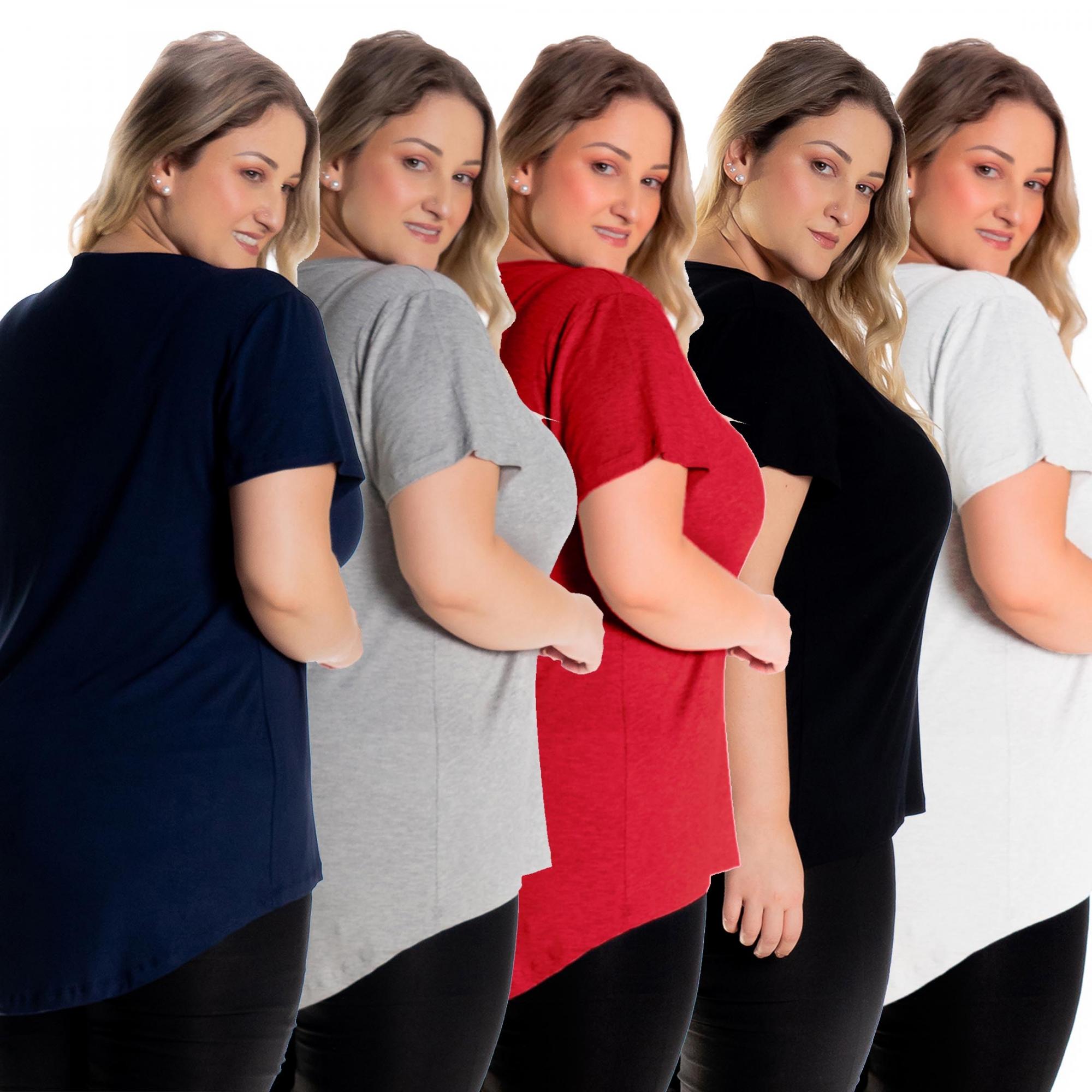 Kit 5 Blusas Femininas Plus Size Tampa Bumbum Mullet 1126