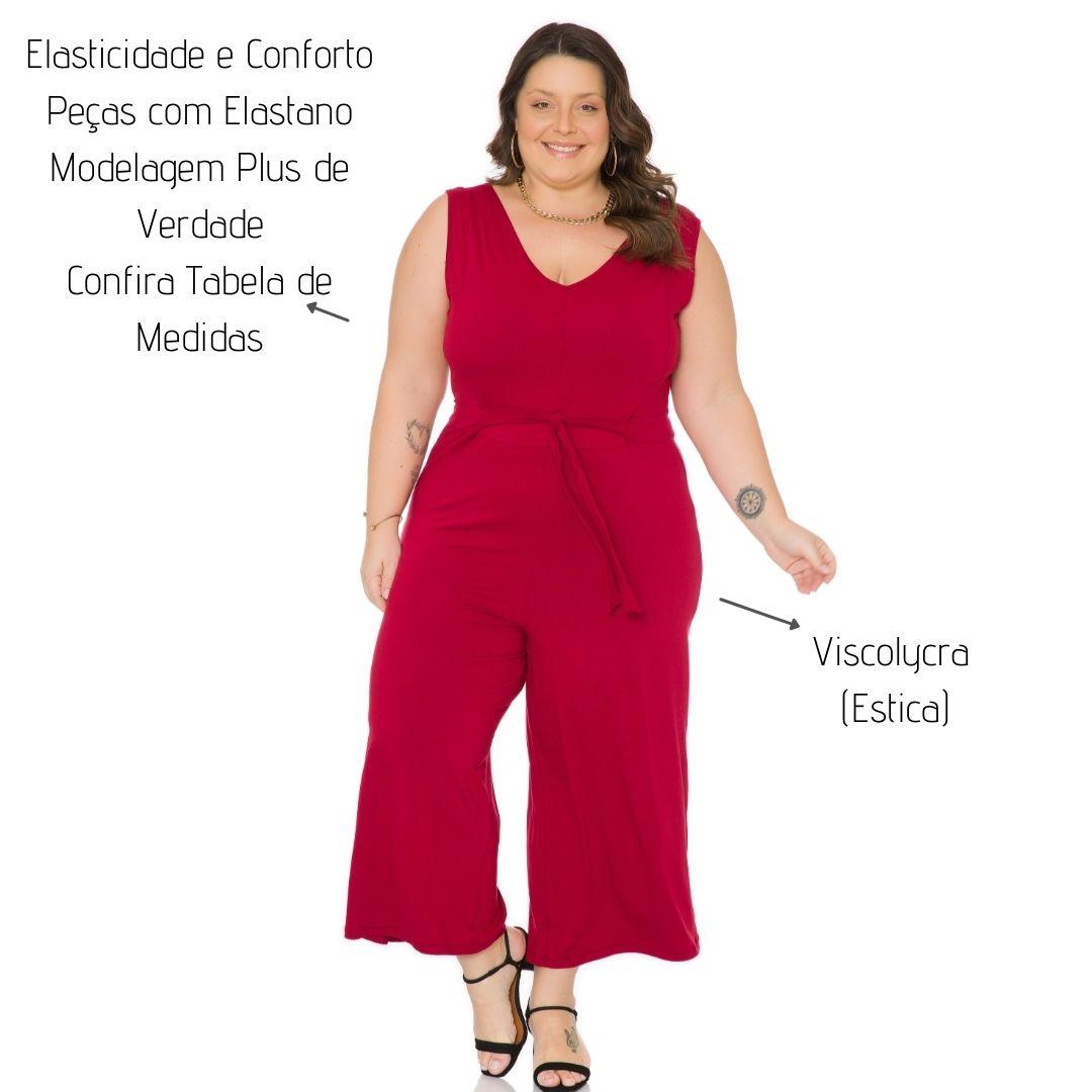 Macacão Pantacourt decote V Plus Size 103742