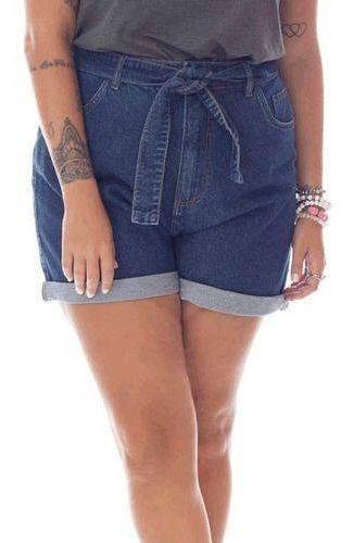 Short Jeans Feminino Plus Size Com Bordado Com Cinto 92592