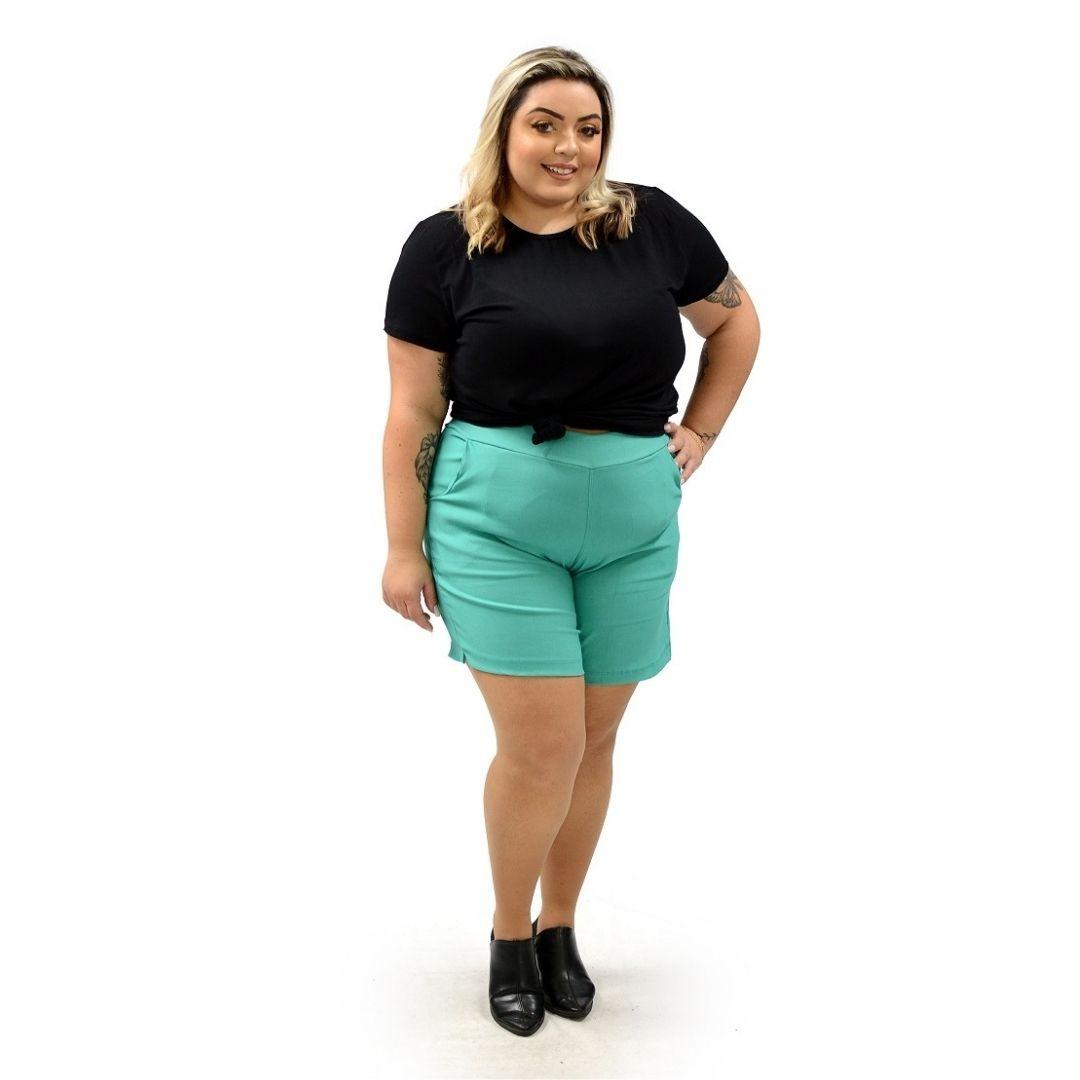 Shorts Plus Size Bengaline com Ilhos 102528