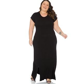 Vestido Longo com manga Curta Decote redondo 103723