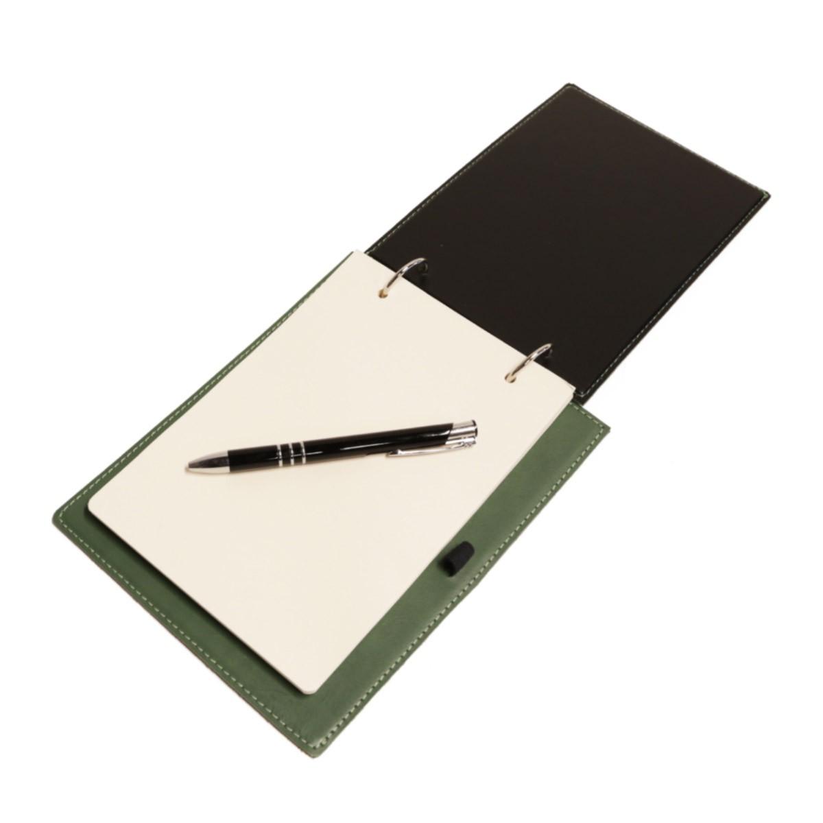 Bloco argola com caneta (Montana Verde Musgo)