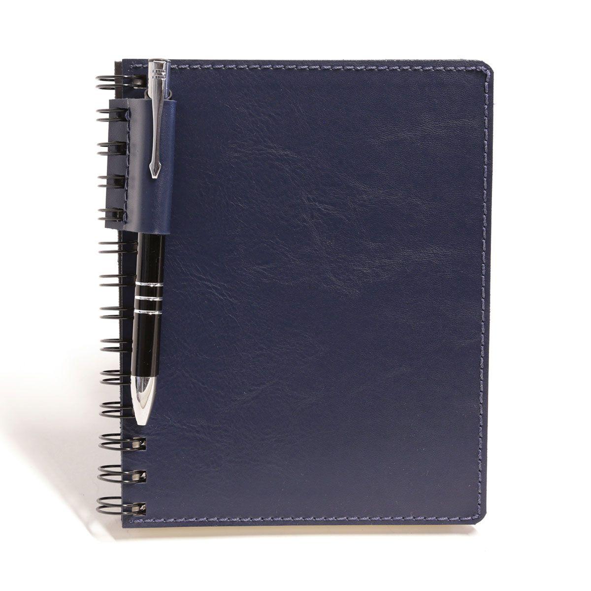 Caderno wire-o com caneta (Montana Azul Marinho)