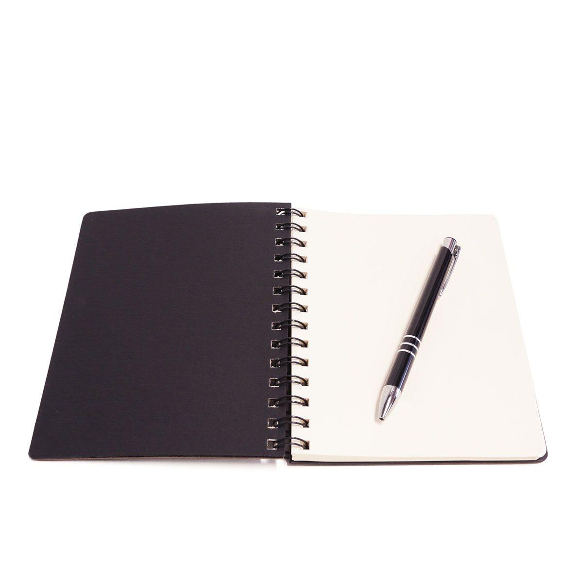 Caderno wire-o com caneta (Montana Preto)