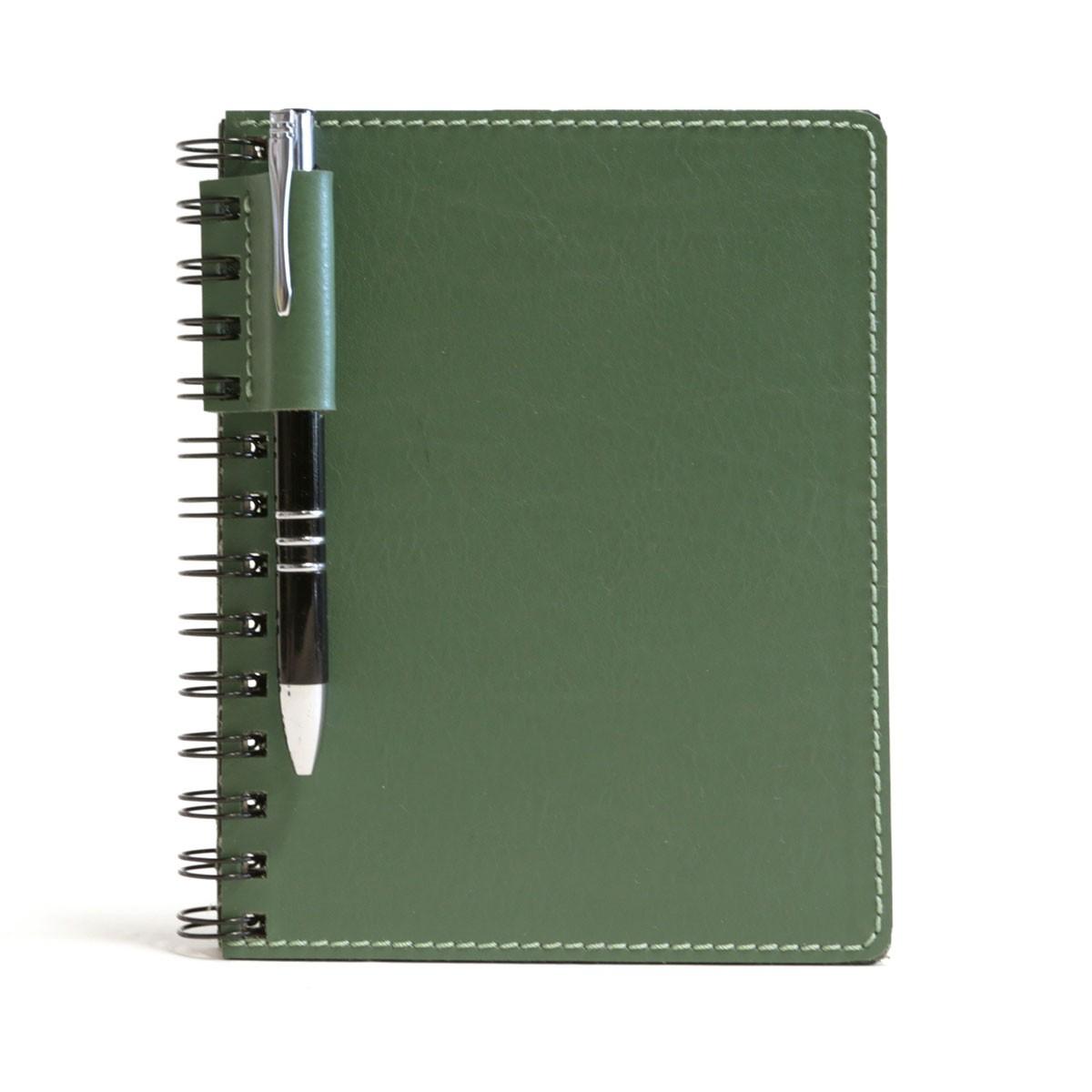 Caderno wire-o com caneta (Montana Verde Musgo)
