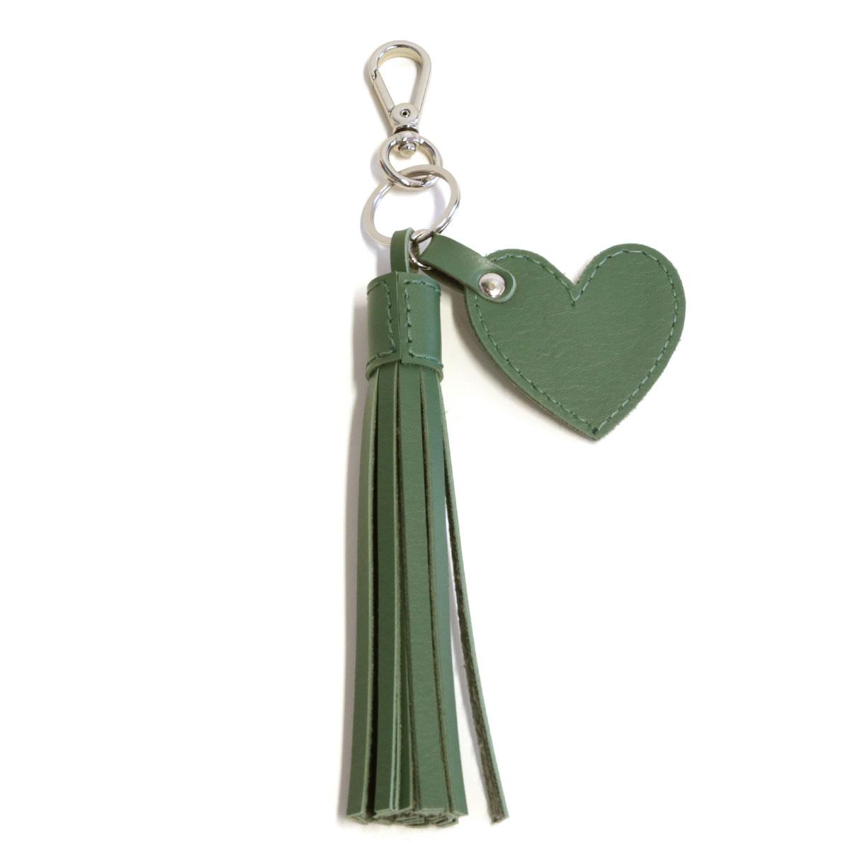 Chaveiro franja e coração (Montana Verde Musgo)