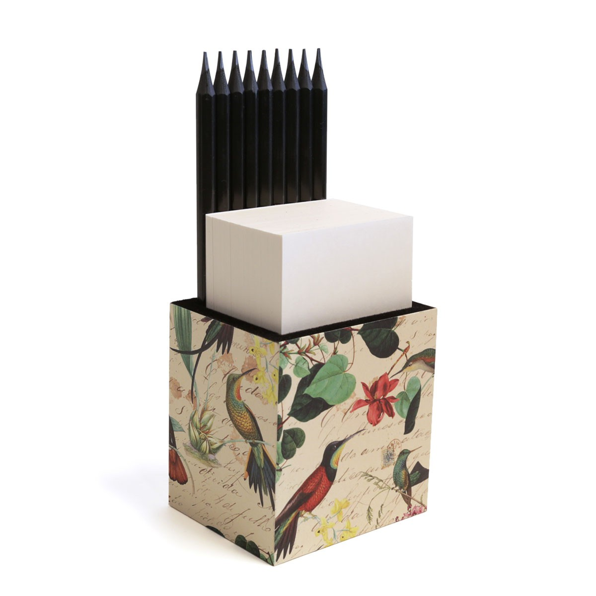 Porta lápis com bloco (Beija-flor)
