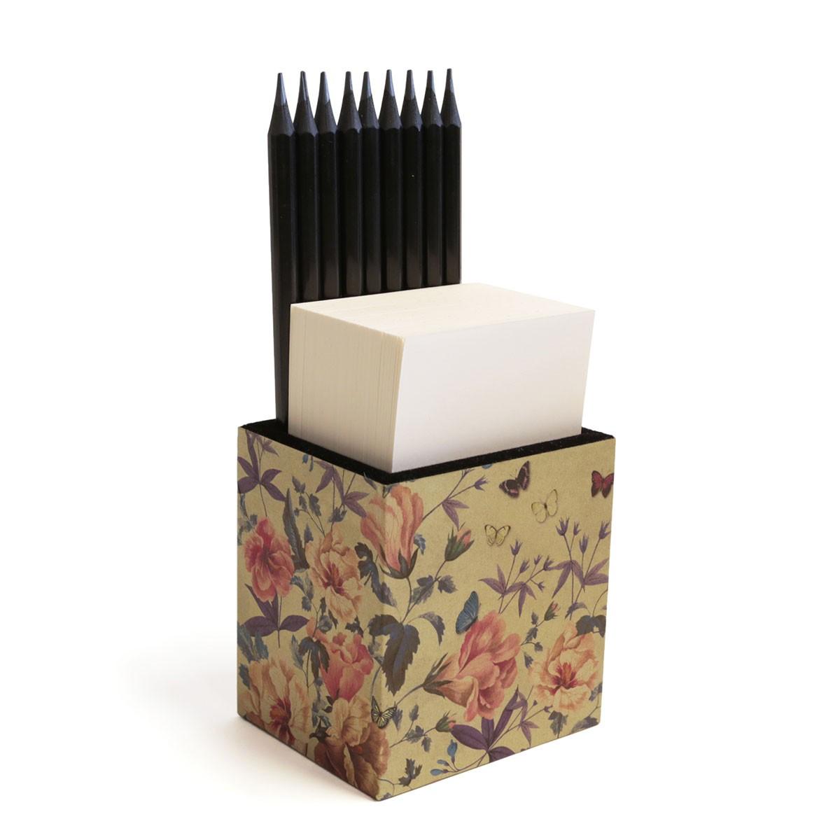 Porta lápis com bloco (Floral)