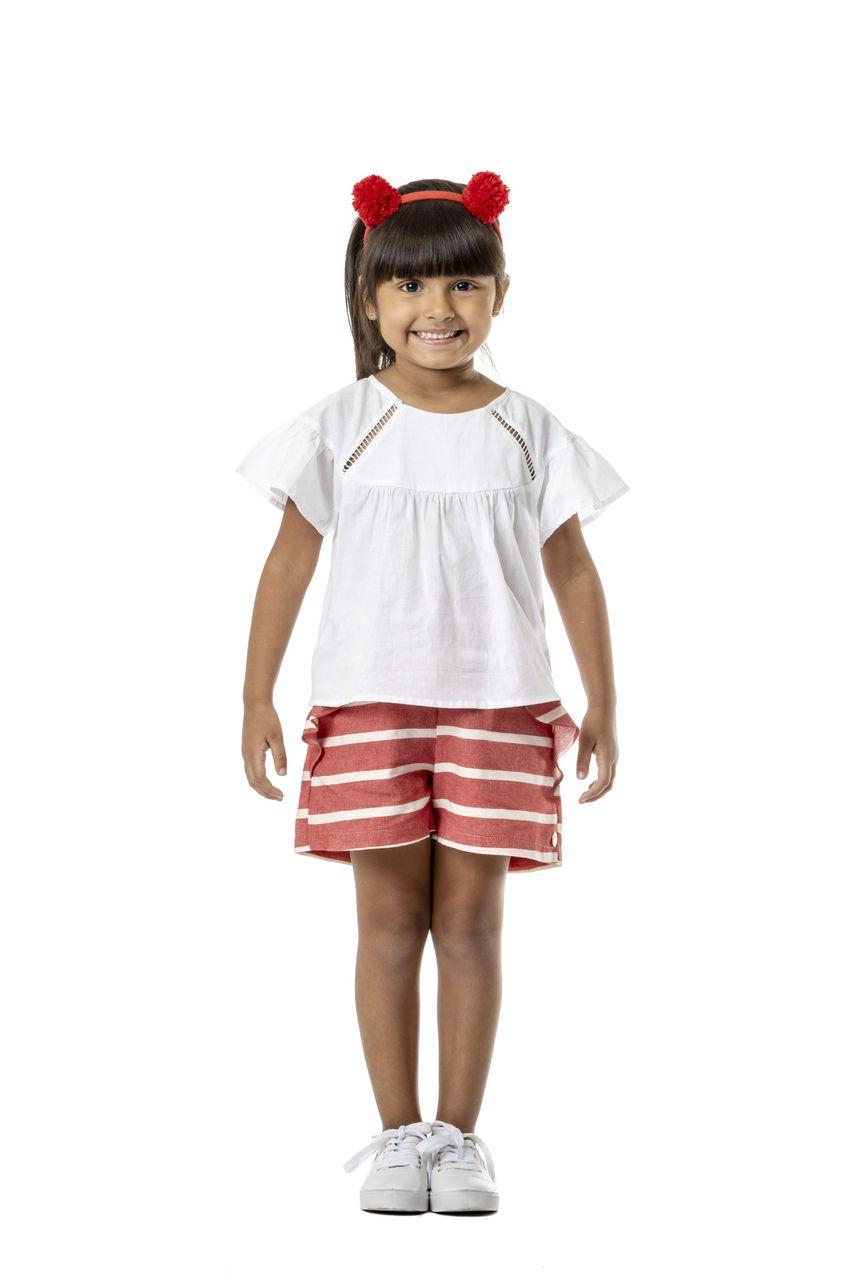 Short Infantil Turma do Balão Em Sarja Leve Listrada