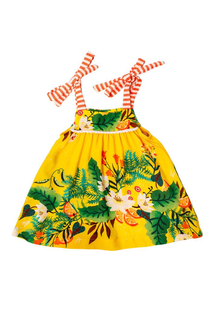 Vestido de bebê Turma do Balão Lima Limão
