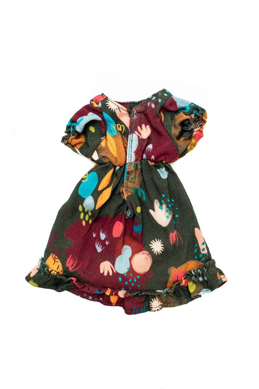 Vestido De Boneca Jardim Pintado