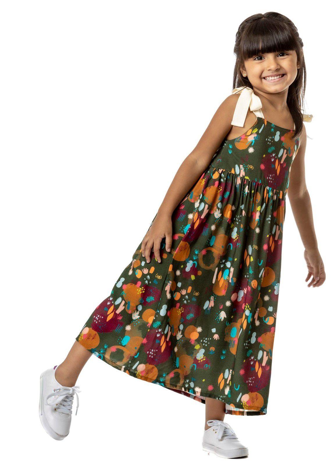 Vestido Infantil Longo Turma do Balão Jardim Pintado