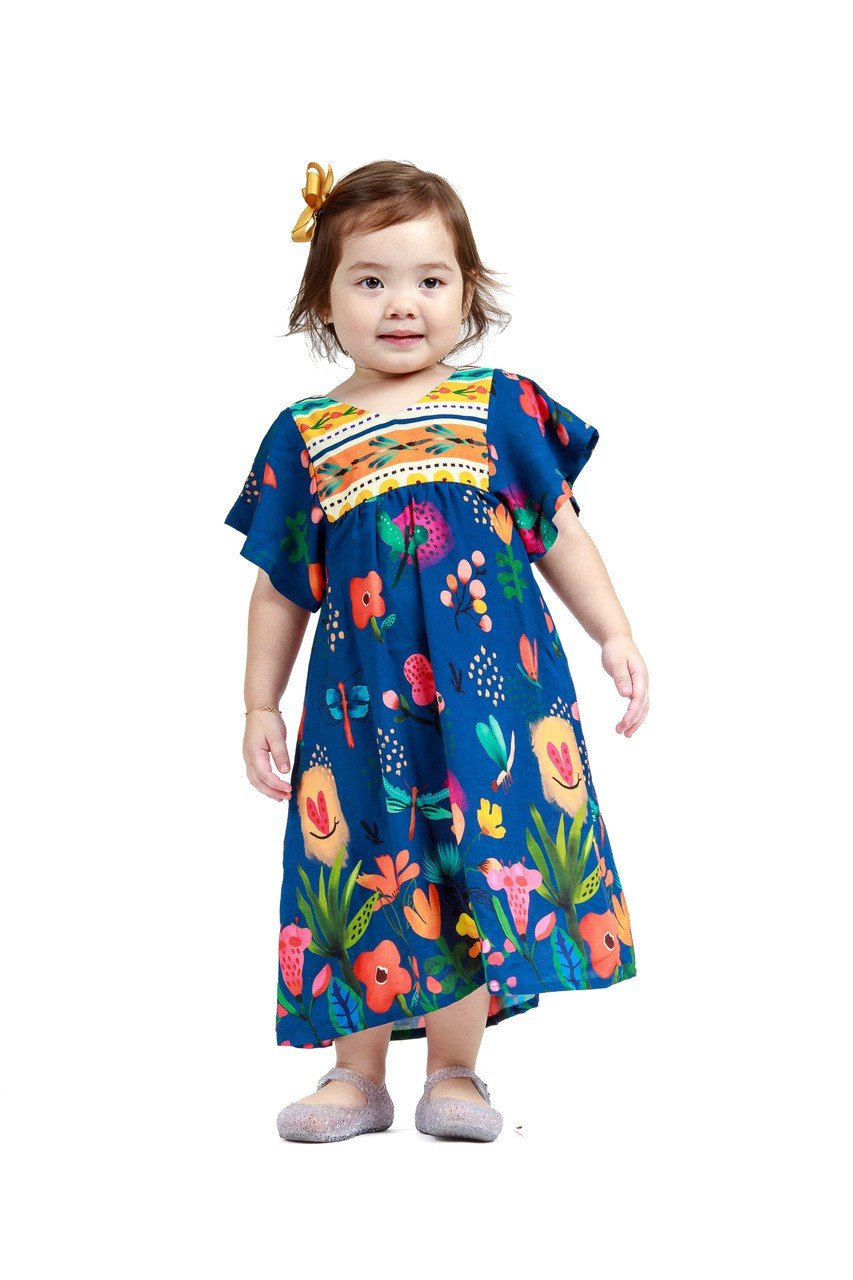 Vestido Infantil Turma do Balão Floral Botânico