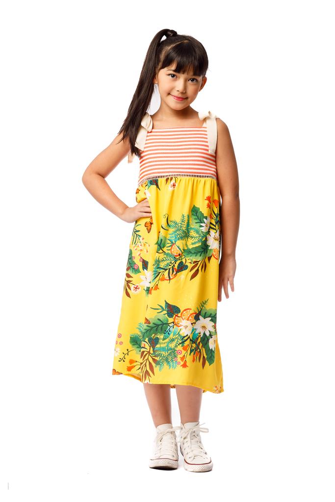 Vestido Midi Infantil Turma do Balão Lima Limão