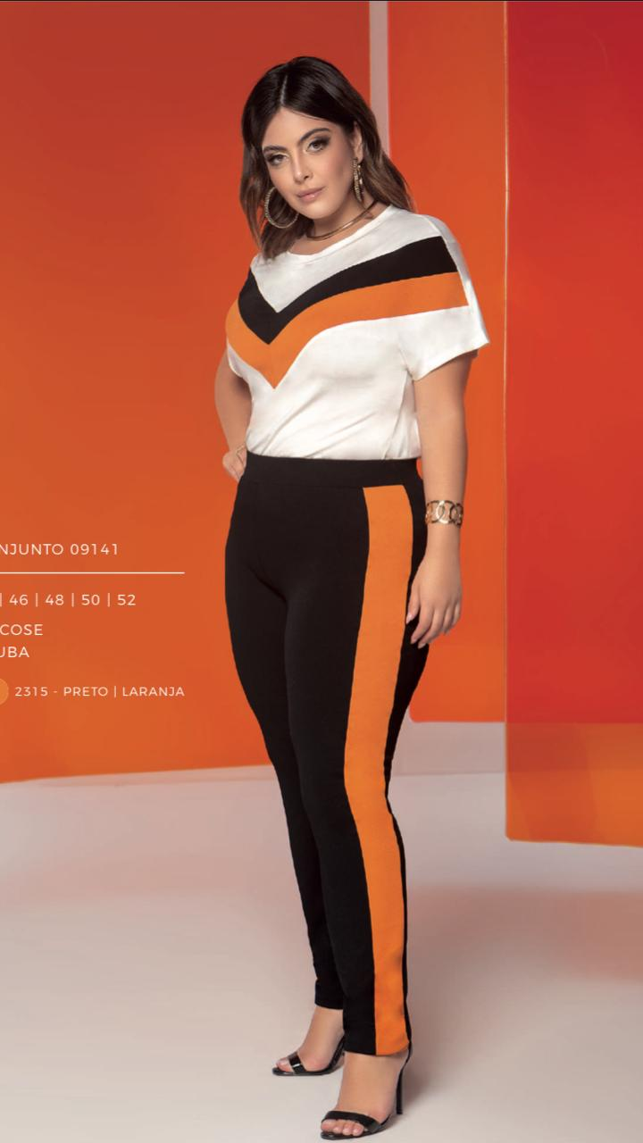 CONJUNTO PLUS SIZE ORANGE