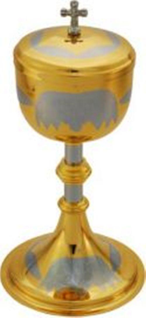 Âmbula ou Cibório 9218 Com Banho Dourado e Detalhe Niquelado