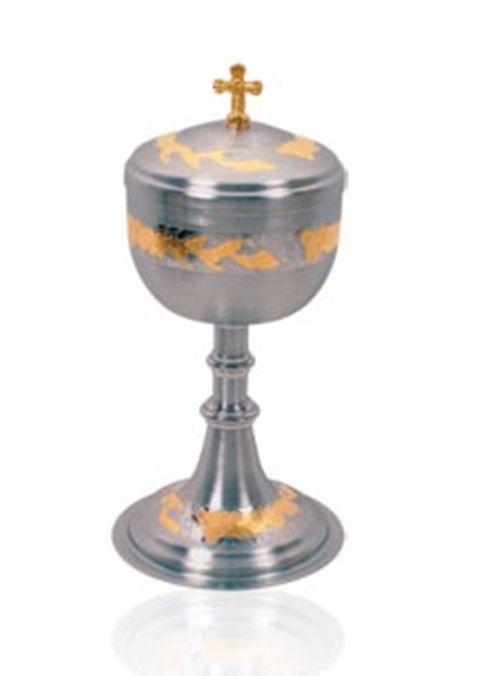 Âmbula ou Cibórios 9116 Cromo Fosco Com Dourado Interno