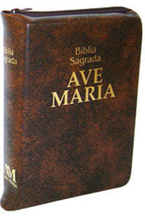 Bíblia Sagrada Ave Maria Zíper - Bolso - Marrom