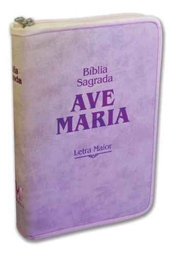 Bíblia Sagrada Ave Maria Zíper - Letra Maior - Rosa