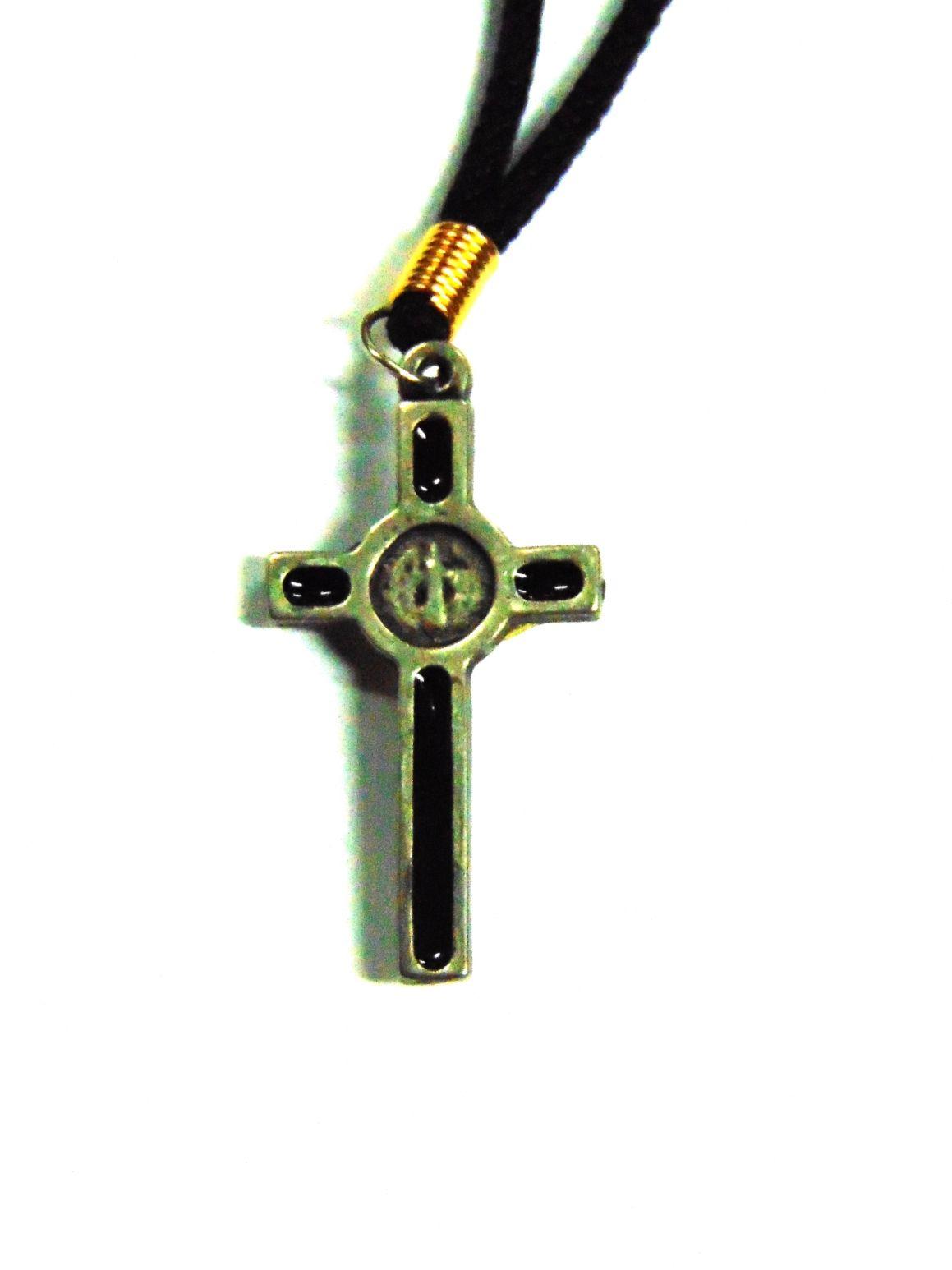 Cordão Pescoço Cruz de São Bento Prata/Preto