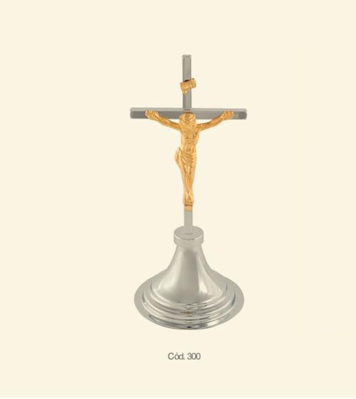 Crucifixo - 28cm - Madeira e Cristo Cromado Total