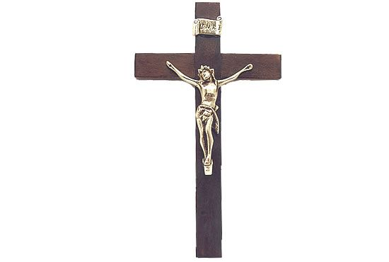 Crucifixo de Parede - 23 cm - em Madeira São Bento Contornado Ouro Velho