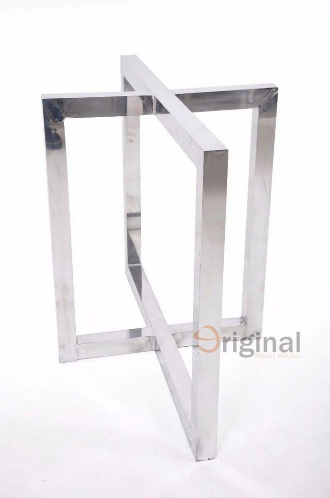 Base para Mesa em Alumínio Cristal 100x60 cm Original Móveis