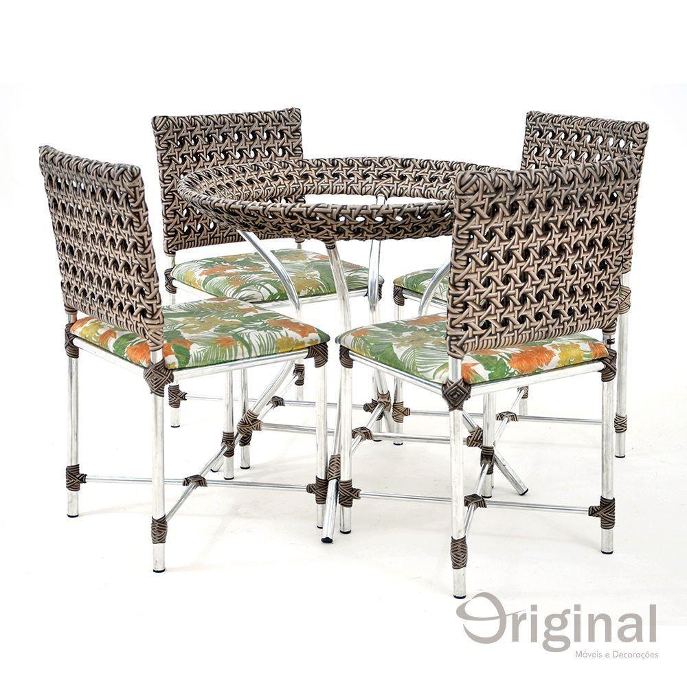 Conjunto de Mesa 4 Cadeiras Alemanha Alumínio Acquablock