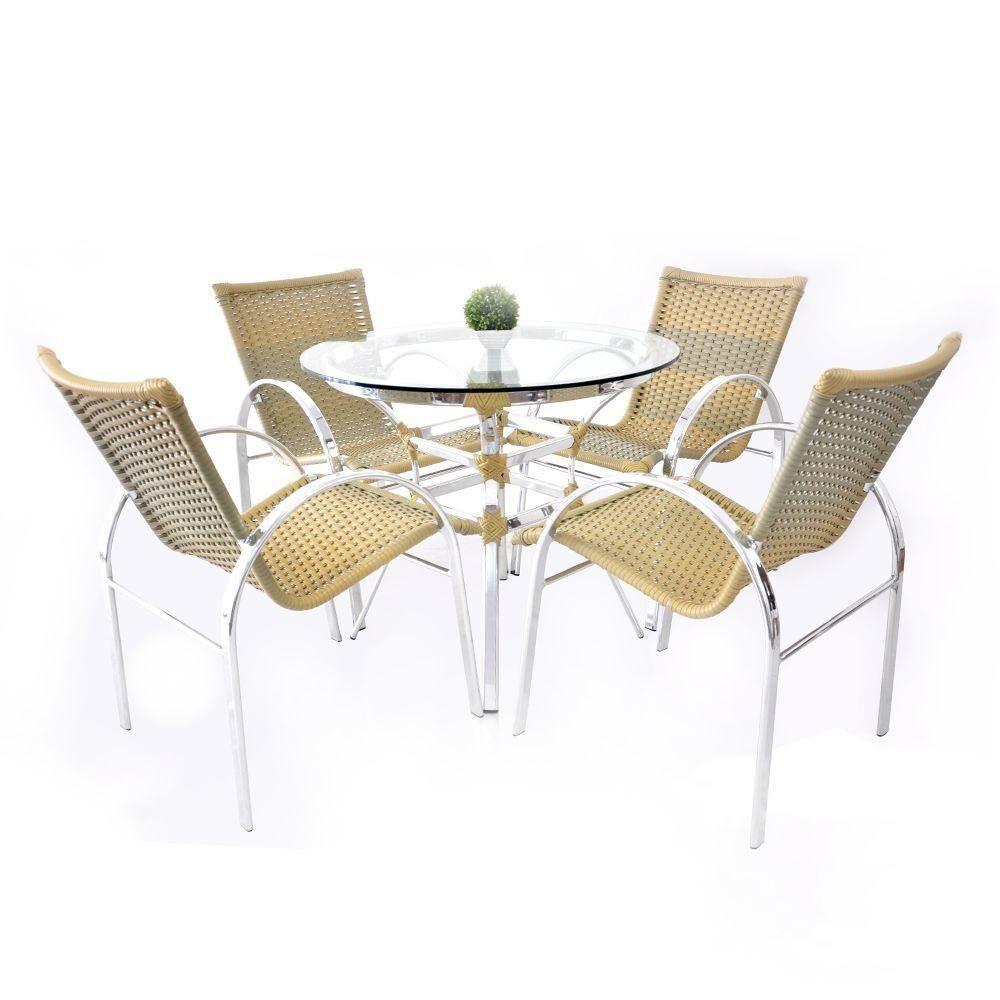 Conjunto de Mesa 4 Cadeiras Argentina Alumínio Original Móveis