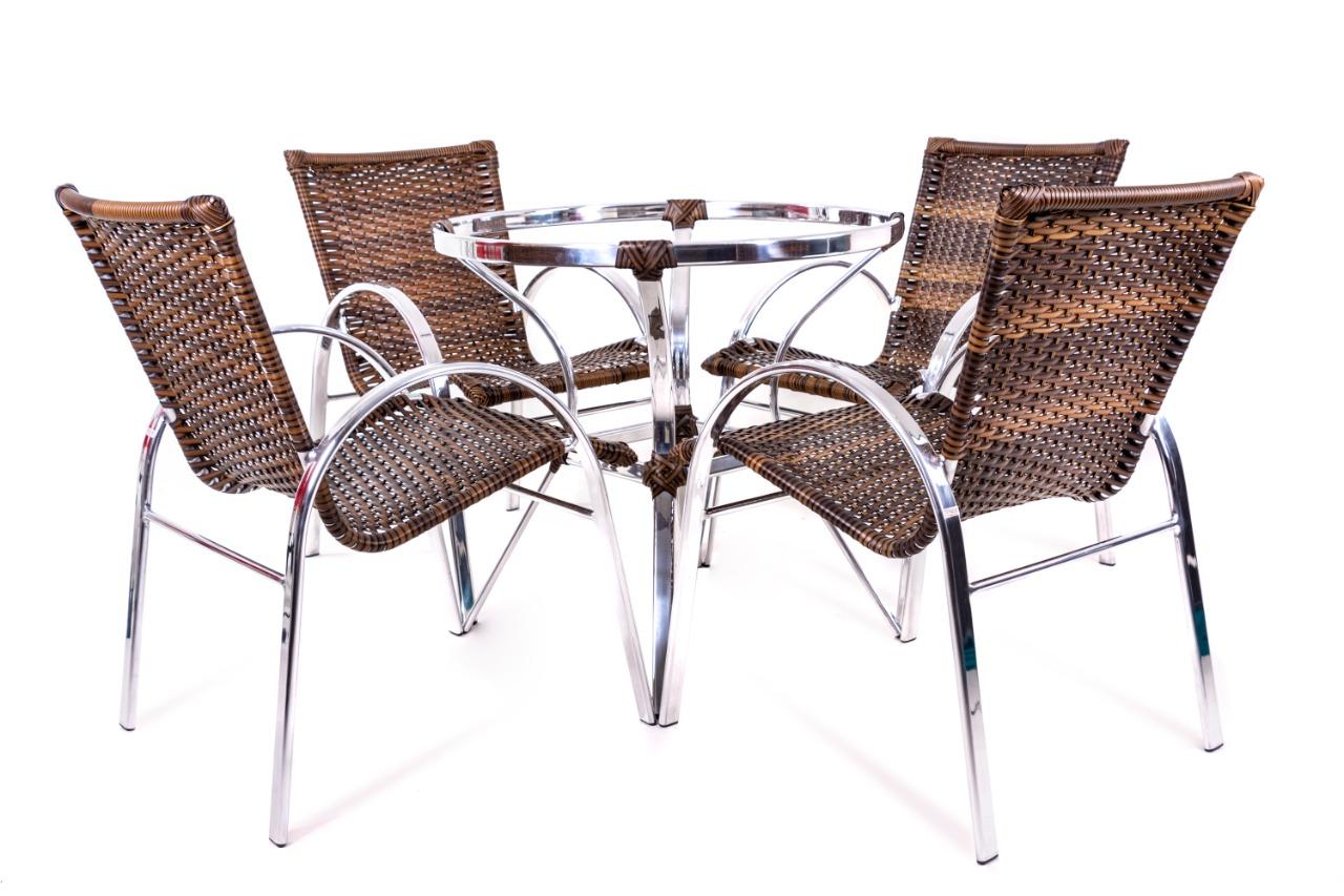 Conjunto Argentina - Mesa + 4 Cadeiras - Alumínio e Fibra Sintética - Original Móveis