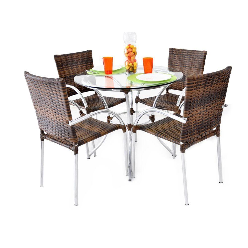 Conjunto de Mesa 4 Cadeiras de Alumínio Polonia Original Móveis