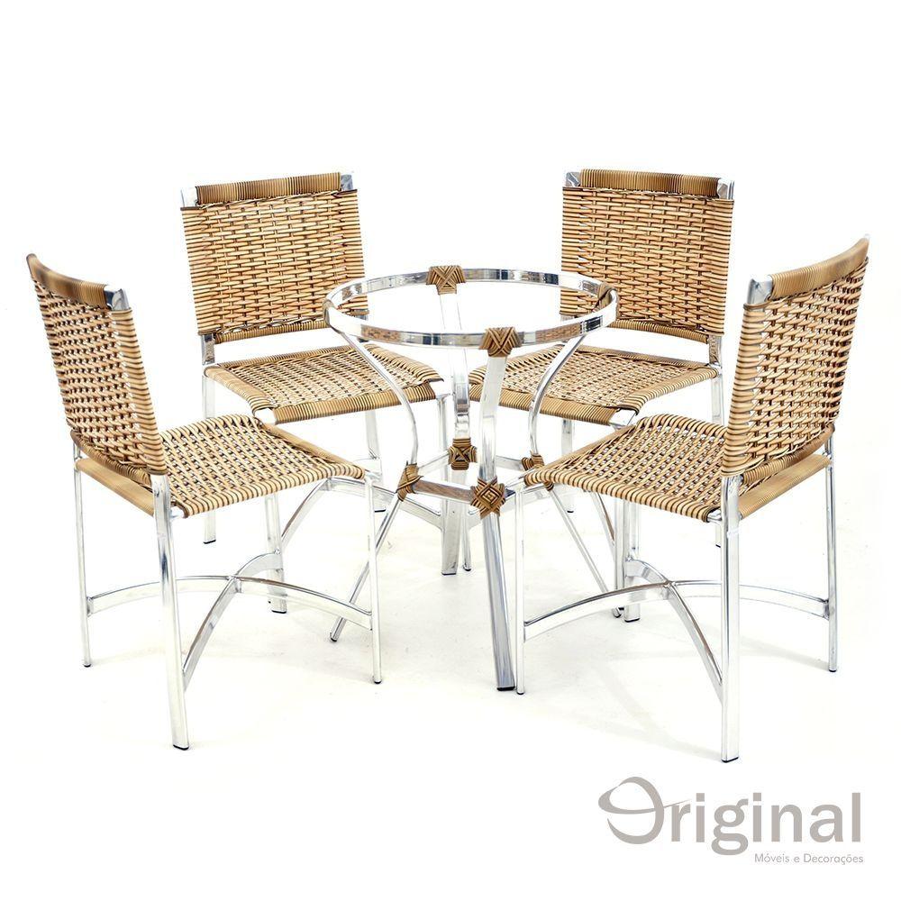 Conjunto de Mesa 4 Cadeiras Libélia Alumínio e Fibra