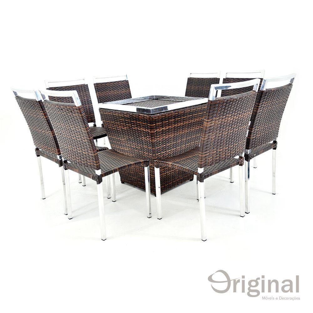 Conjunto de Mesa 8 Cadeiras Malavi Alumínio e Fibra Original