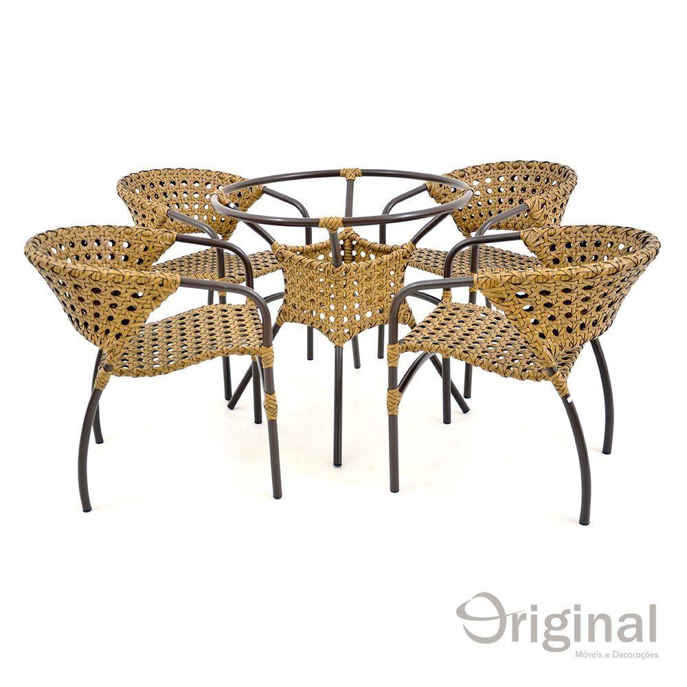 Conjunto de Mesa 4 Cadeiras Marrocos Alumínio e Fibra Original