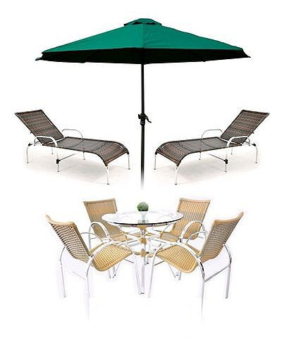 Conjunto Mesa e Cadeira com Espreguiçadeiras e Ombrelone Original Móveis