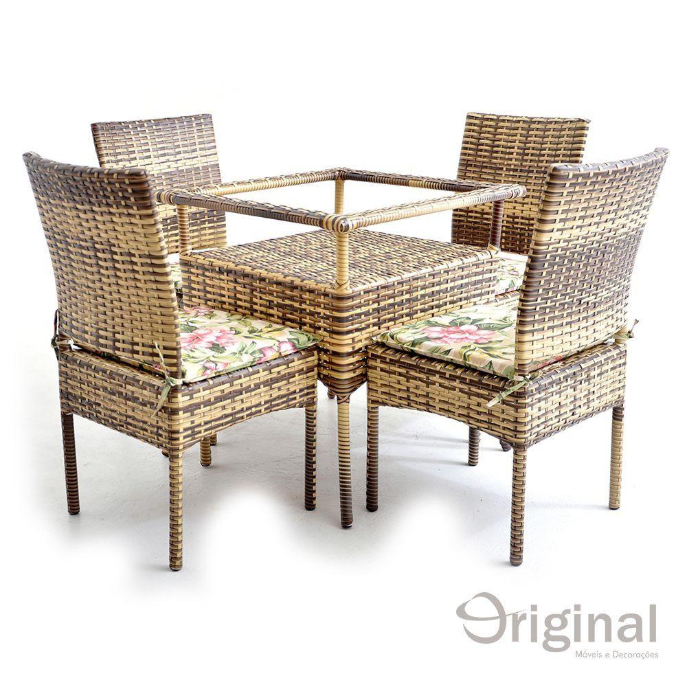 Conjunto de Mesa 4 Cadeiras Tuvalu Alumínio e Fibra Original