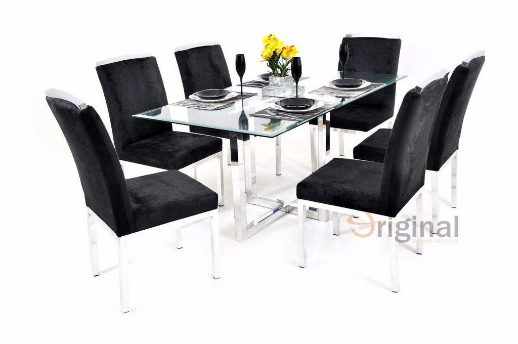 Conjunto de Mesa 6 Cadeiras Cristal Alumínio Original Móveis
