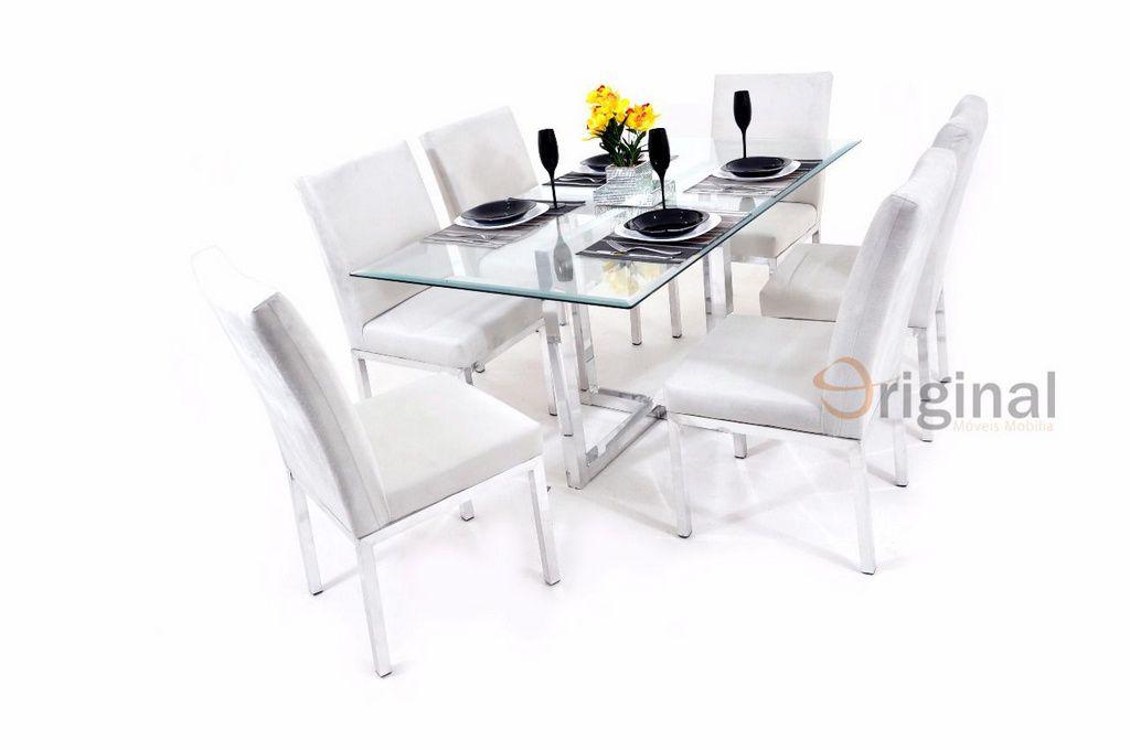 Conjunto de Mesa 6 Cadeiras Cristal Alumínio Polido Original