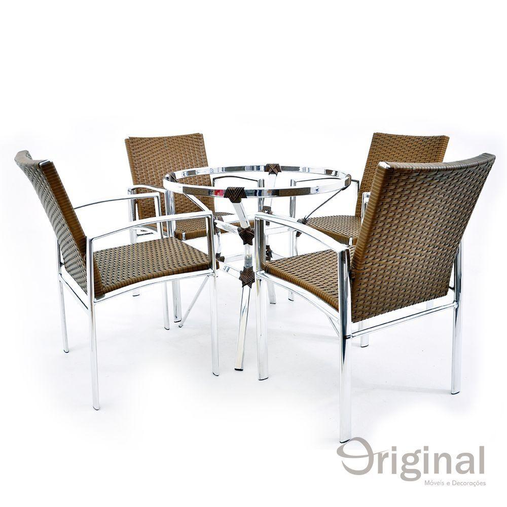 Conjunto de Mesa 4 Cadeiras Albánia Alumínio Original Móveis