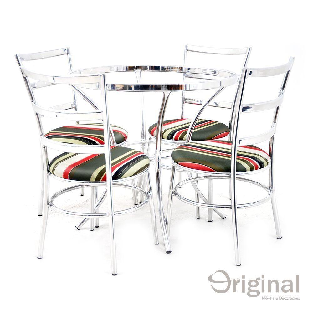 Conjunto de Mesa 4 Cadeiras Armênia Alumínio Original Móveis