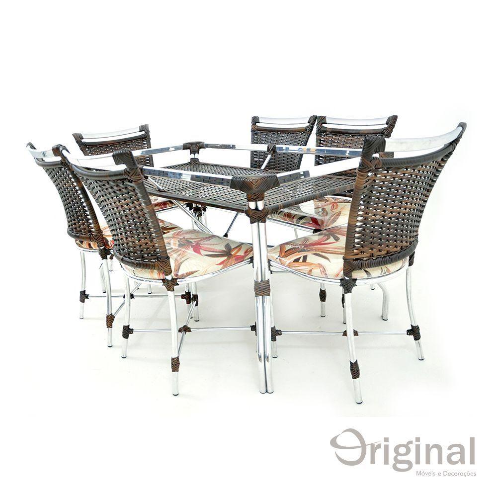 Conjunto de Mesa 6 Cadeiras Austrália Alumínio Original Móveis