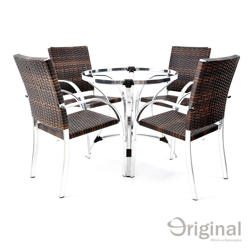 Conjunto de Mesa 4 Cadeiras Belize Alumínio Original Móveis